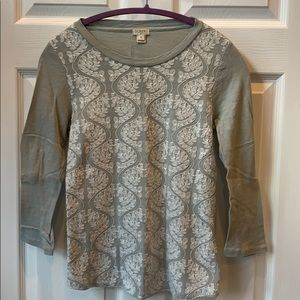 J crew long sleeve sage t-shirt. Lace on front.